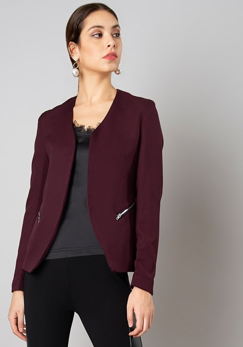 Wine Zipped Tailored Blazer