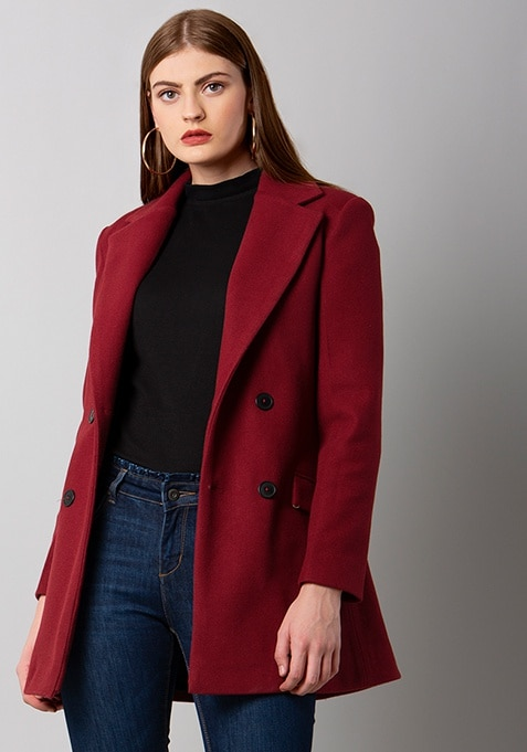 Red Double Breasted Classic Coat