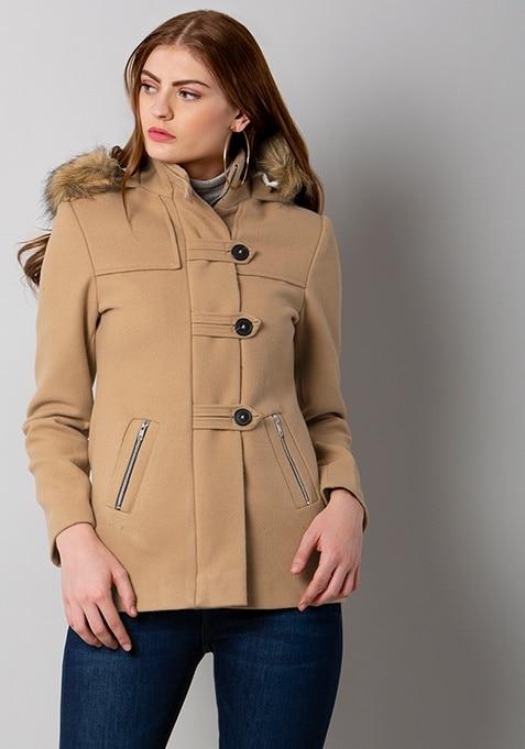 Beige Hooded Zip Up Coat