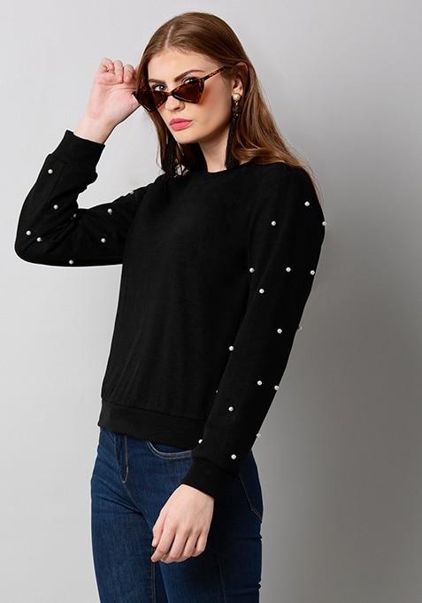 Black Pearl Embellished Sweatshirt