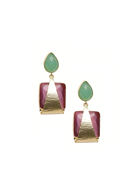 Gold Plated Square Drop Earrings