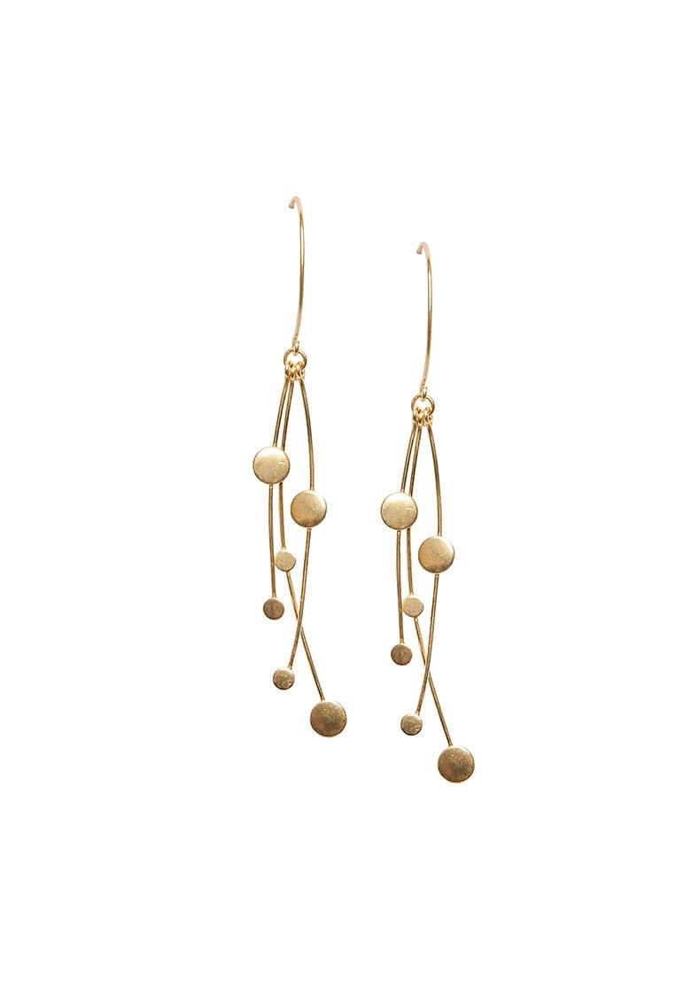 Gold Discs Drop Earrings