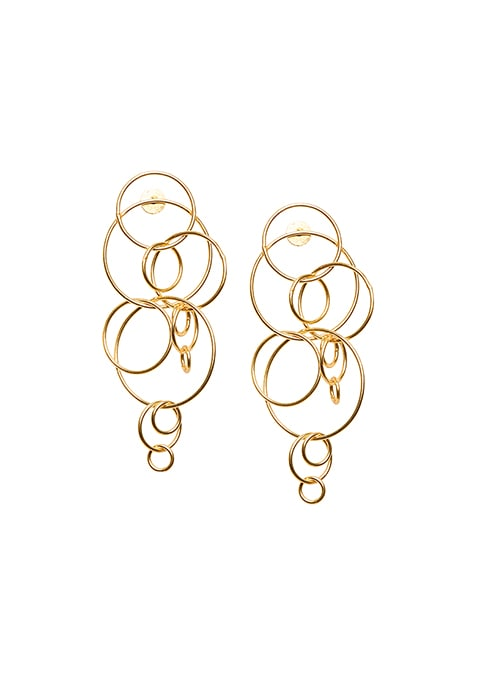 Gold Intertwined Circular Earrings