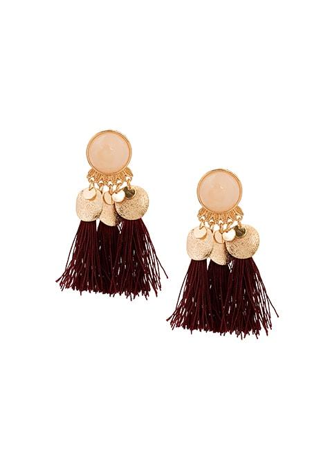 Wine Fringe Drop Earrings