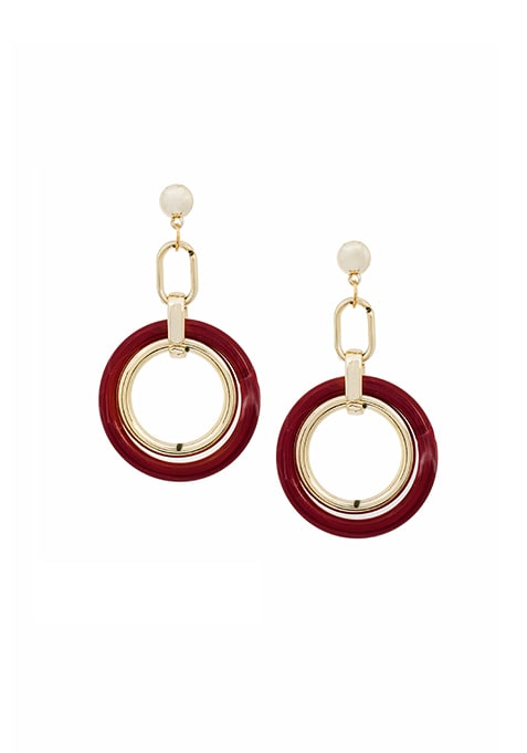 Oxblood Tortoise Shell Sphere Earrings