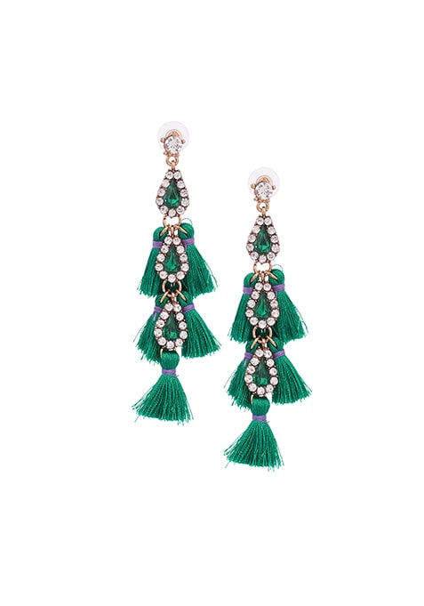 Teal Embellished Fringe Earrings