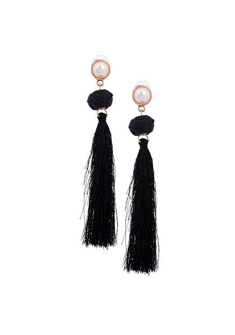 Pearl Black Fringe Earrings