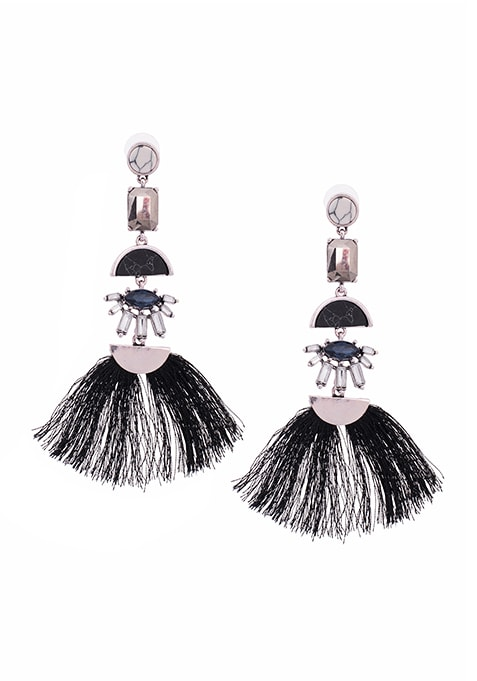 Black Tassel Chandelier Earrings