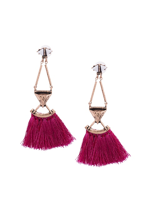 Purple Triangular Tassel Earrings