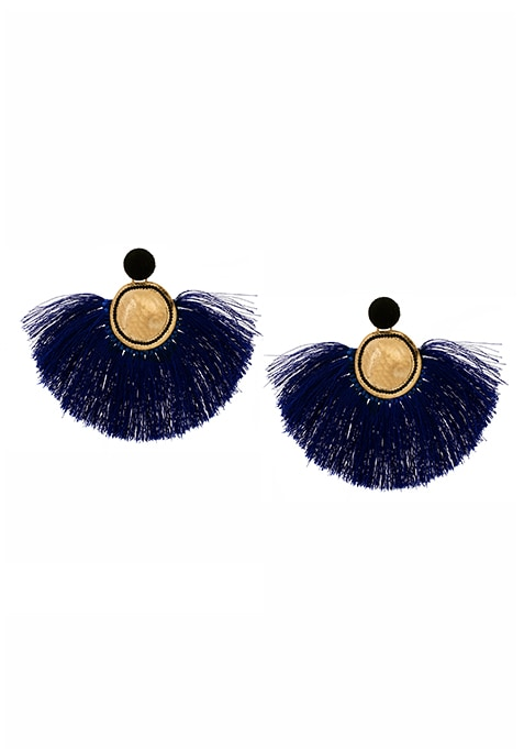 Navy Dense Fringe Earrings