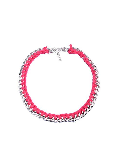 Fushia Wrap Curb Chain Necklace