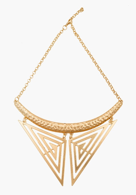 Gold Hammered Collar Necklace