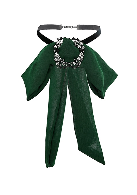 Green Embellished Bow Necklace