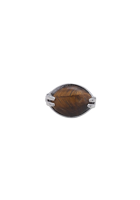 Twisted-Bronze Stone Ring