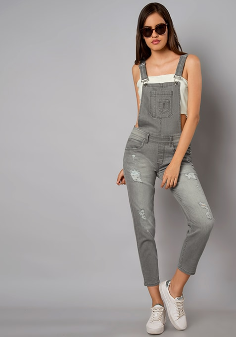 Grey Distressed Denim Dungarees