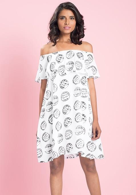 MasabaXFabAlley Off Shoulder Dress - Coin