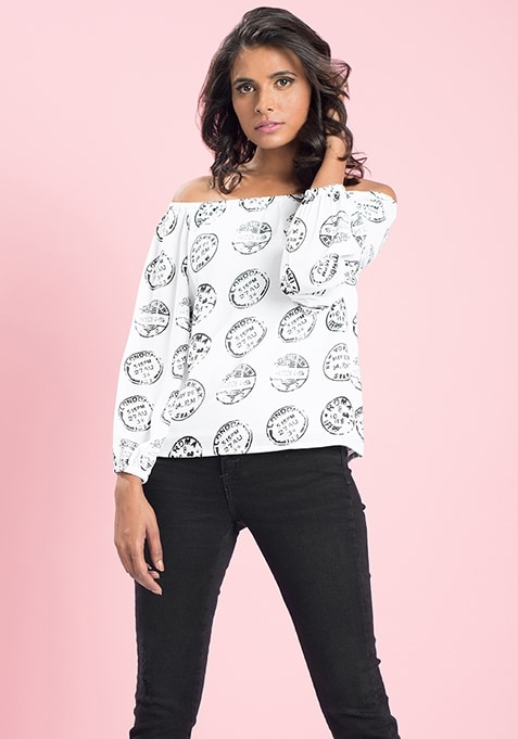 MasabaXFabAlley Coin Stamp Off Shoulder Top