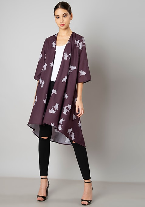 Wine Floral Asymmetric Hem Shrug