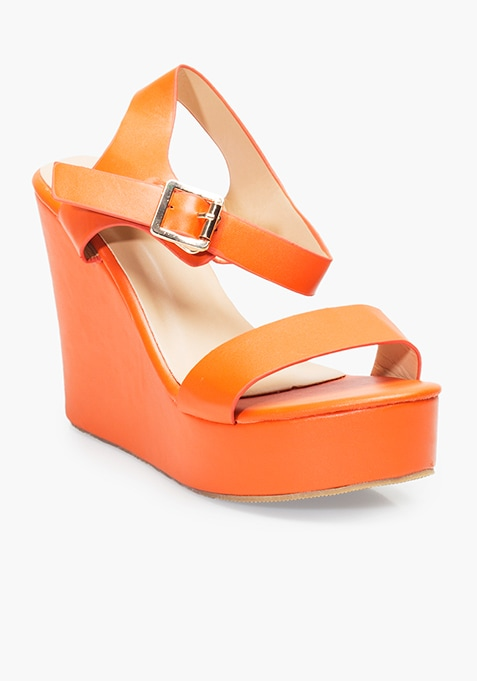 Basic Orange Wedge Sandals