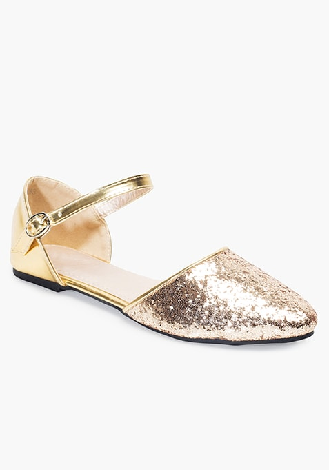 Pointed Toe Flats - Gold