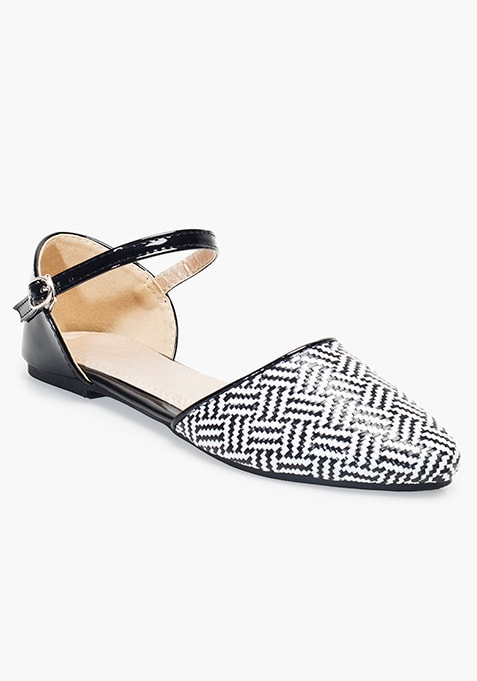 Pointed Toe Flats - Monochrome