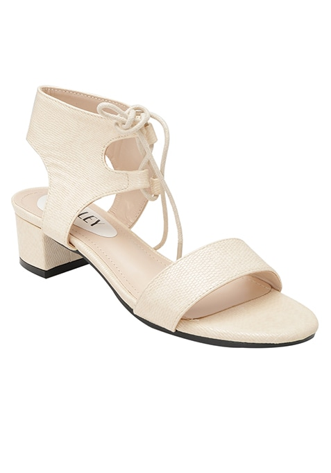 Beige Tie-up Ankle Strap Sandals