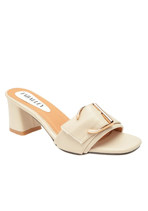 Beige Square Toe Block Heel Sandals