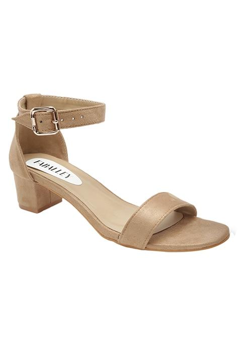 54df4ef568e8f Buy Women Beige Ankle Strap Faux Suede Sandals - Shoes Online India ...