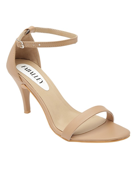 Beige Barely There Stiletto Sandals