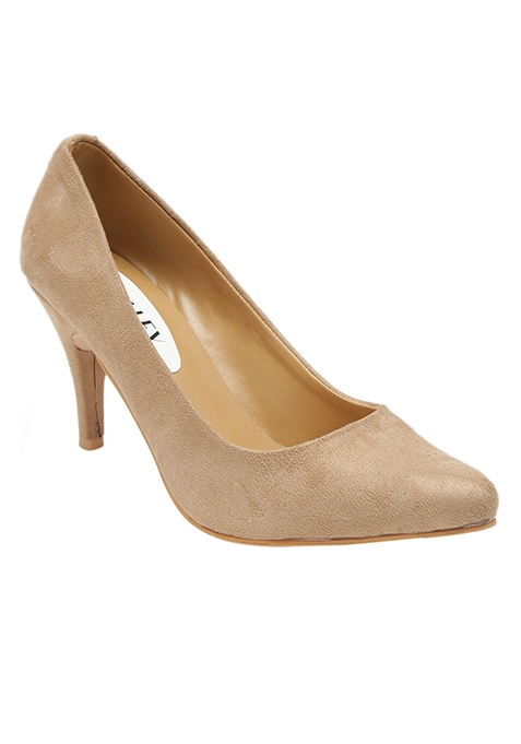 Beige Pointed Toe Pumps