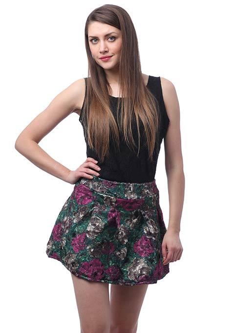 Printed Woolen Skater Skirt