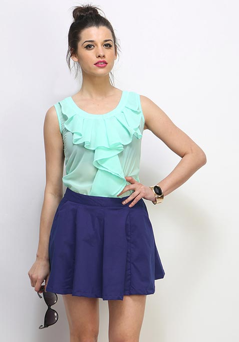 Deep Blues Skater Skirt