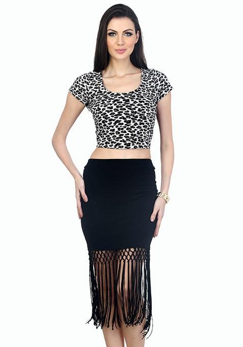 Flirty Fringed Mini Skirt - Black