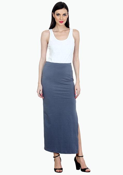 Summer Popping Maxi Skirt - Grey