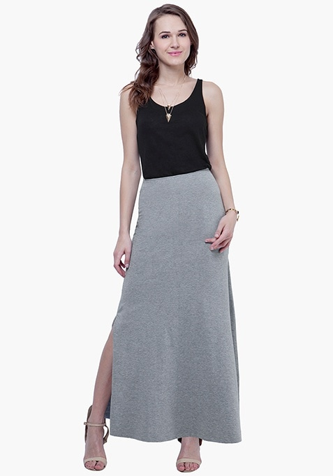 Flared Grey Maxi Skirt