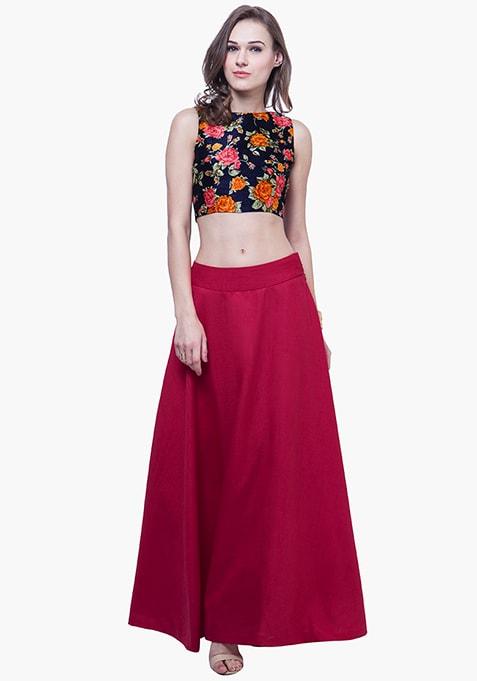Silk Lush Maxi Skirt - Cerise