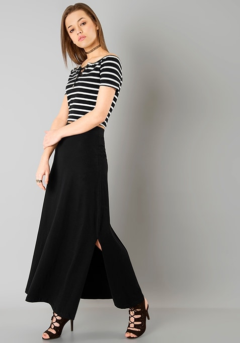 Flared Jersey Maxi Skirt - Black