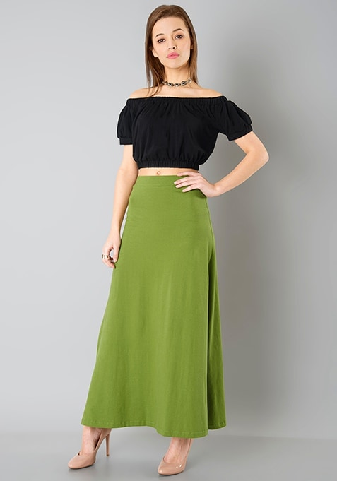 Flared Jersey Maxi Skirt - Olive
