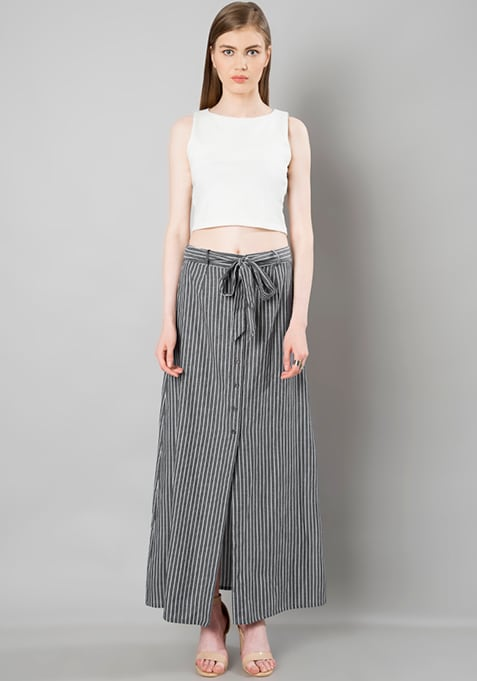 Belted Maxi Skirt - Stripes