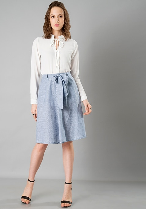 Belted Midi Skirt - Blue Pinstripes