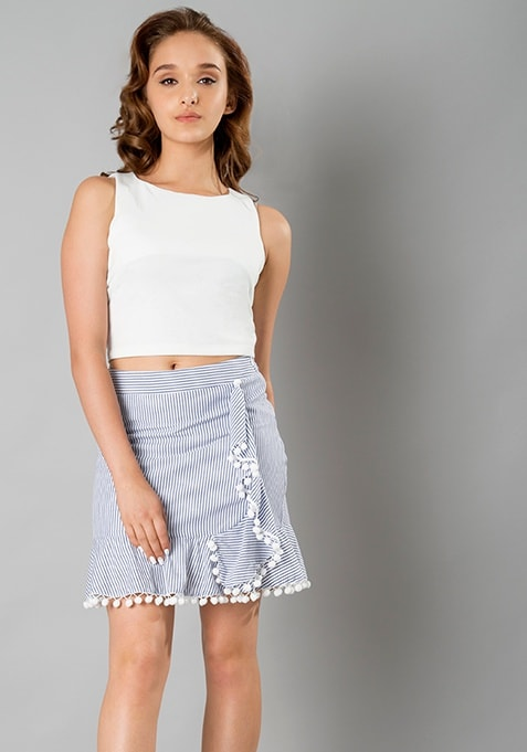 Pom Pom Mini Skirt - Stripes