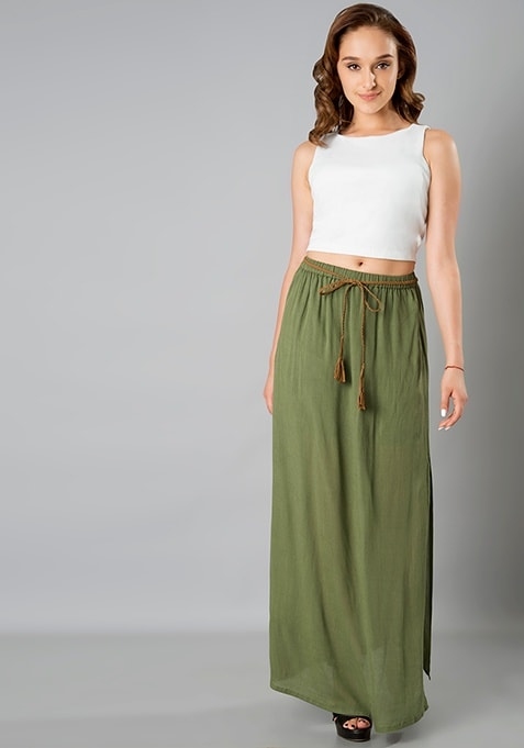 Belted Maxi Skirt - Olive