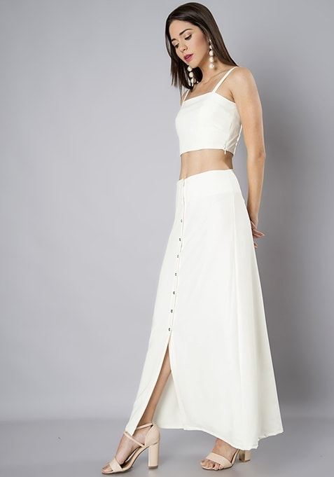 Off White A-Line Maxi Skirt