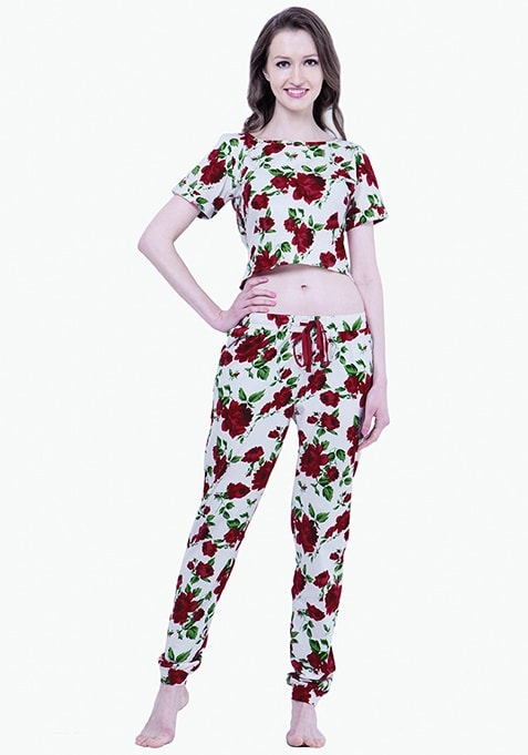 Cropped Rave PJ Set - Rose