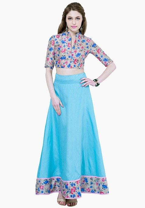 Floral Hem Maxi Skirt - Aqua