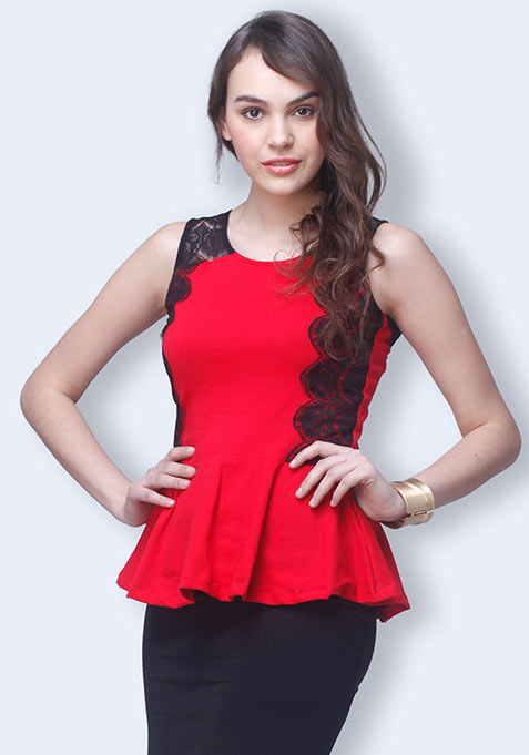 Lace Lark Peplum Top - Red