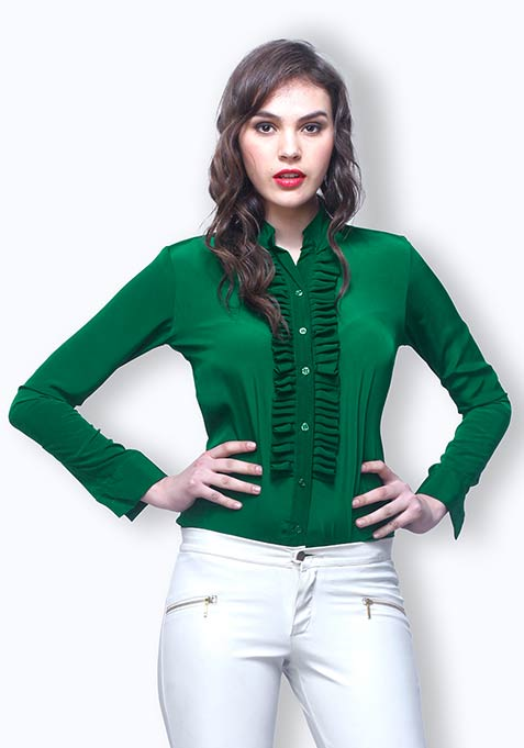 Crisp Pleats Shirt - Emerald