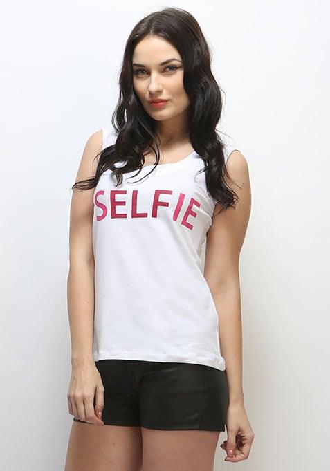 Selfie Muscle Tee - White thumbnail