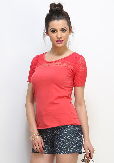 Lace Out Tee - Coral