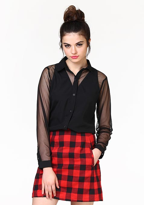 Sheer Mischief Shirt - Black